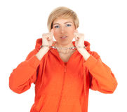 Woman with handcuffed hands Royalty Free Stock Image
