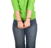 Woman with handcuffed hands Royalty Free Stock Photo