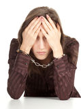Woman with handcuffed hands Royalty Free Stock Images
