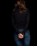 Woman with handcuffed hands Royalty Free Stock Photography
