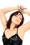 Woman with handcuffs Royalty Free Stock Photography