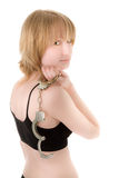 Woman with handcuffs Royalty Free Stock Photos
