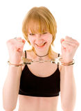 Woman in handcuffs stock photos