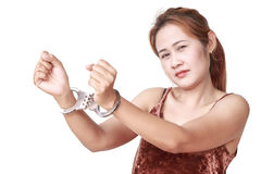 Woman with handcuffs Stock Photography
