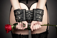 Woman in handcuffs holding a rose Royalty Free Stock Image