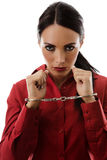 Woman in handcuffs Stock Images