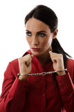 Woman in handcuffs Royalty Free Stock Photos