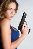 Woman With Handgun Royalty Free Stock Photography
