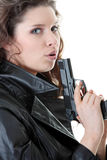 Woman With Handgun Royalty Free Stock Photo