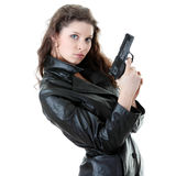Woman With Handgun Stock Photos