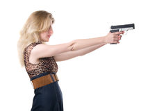Woman with handgun royalty free stock images