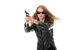 Woman With Handgun Stock Photos