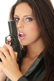 Woman With Handgun Stock Photography