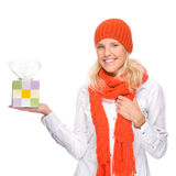 Woman with handkerchief Stock Images