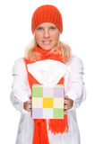 Woman with handkerchief. Full isolated portrait of a caucasian woman with handkerchief Royalty Free Stock Images