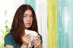Woman with handkerchief. And flu Royalty Free Stock Photos