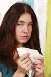Woman with handkerchief Stock Image