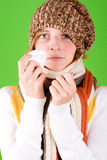 Woman with handkerchief and thermometer Royalty Free Stock Photos