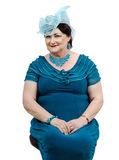 Woman in handmade blue organza hat Royalty Free Stock Photography