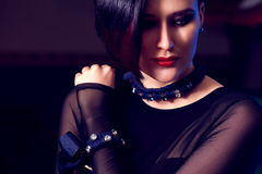 Woman with handmade cool jewelry Royalty Free Stock Photo