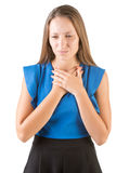 Woman With Hands Around Her Neck Royalty Free Stock Photos