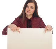 Woman hands back on canvas. Woman is showing on a white canvas stock photos