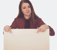 Woman hands back on canvas. Woman is showing on a white canvas stock photo