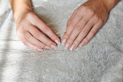 Woman hands with beautiful french manicure Royalty Free Stock Photography