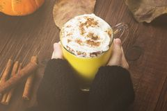 Woman hands in black sweater holding a cup of pumpkin latte with. Spices cinnamon, an anise and whipped cream on a wooden background. Toned Stock Images