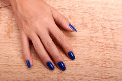 Woman hands with blue manicure and nail polish Stock Image