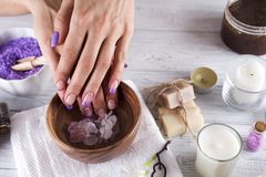 Hands Spa.Manicure concept Stock Photos