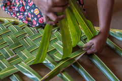 Woman hands braiding green coconut leaves Royalty Free Stock Image