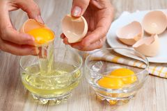 Woman hands breaking an egg to separate  egg- white and  yolk Royalty Free Stock Image
