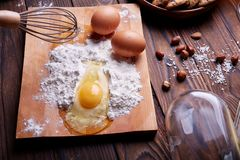 Cooking at home concpet. Healhty food. Wooden flour. Stock Images