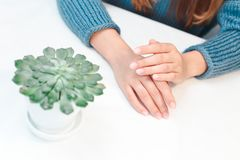 Woman hands care stock images