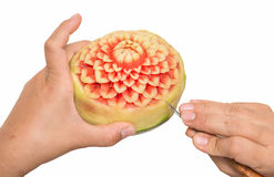 Woman hands carved watermelon show step Royalty Free Stock Image