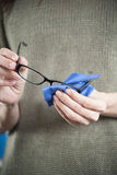 Woman Hands Cleaning Glasses Royalty Free Stock Photo