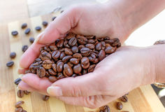 Woman Hands and Coffee Beans Royalty Free Stock Photos