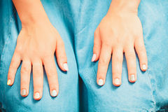Woman hands with color nail polish. Manicure. Royalty Free Stock Images