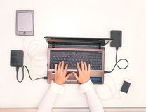 Woman hands on computer laptop Royalty Free Stock Photos