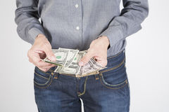 Woman hands counting dollars Royalty Free Stock Photography