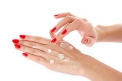 Woman hands and cream Royalty Free Stock Photography