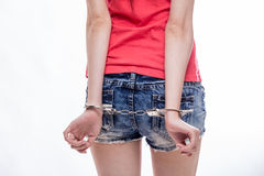 Woman with hands cuffed Stock Photos