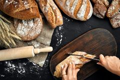 Woman hands cutting a loaf of bread on rustic wooden board, with wheat ears and knife, top view. Still Life. Flat lay Royalty Free Stock Photography