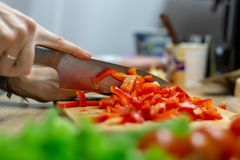 Woman hands cutting vegetables in the kitchen royalty free stock photo