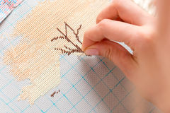 Woman hands doing cross-stitch. Royalty Free Stock Photography