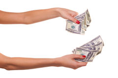 Woman hands and dollars. Royalty Free Stock Photography