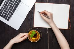 Woman hands drawing or writing with pen in open notebook royalty free stock photo