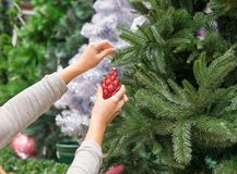 Woman hands dressing up a Christmas tree with a red toy Royalty Free Stock Photos