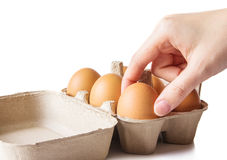 Woman hands with eggs Royalty Free Stock Image